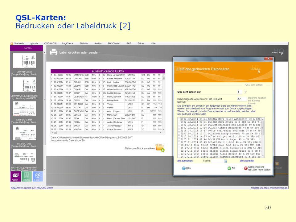 QSL-Karten: Bedrucken oder Labeldruck [2]
